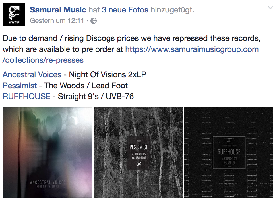 samurai music know how to deal with demand / rising discogs